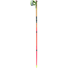 LEKI Micro Trail Pro Bastones Trail Running plegable, neon red/darkred/grey/white/neon yellow